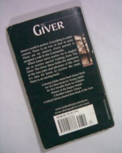 The back of the book the giver